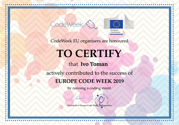 Certifikát Ivo Toman