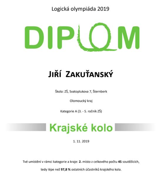 Diplom Jiří Zakuťanský